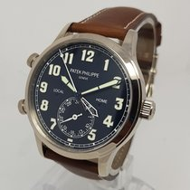 Patek Philippe Calatrava Pilot Travel Time Mens 42mm 18K White...