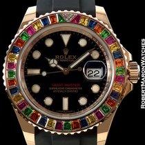 Rolex Yacht Master 116695sats Rainbow Bezel 18k Rose Gold New...