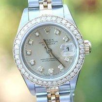 Rolex Ladies 26mm 69173 Datejust 18k Gold Steel Diamond Dial...