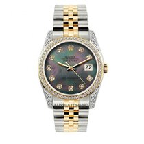 Rolex Datejust Men's 36mm Black Mother Of Pearl Dial Gold...