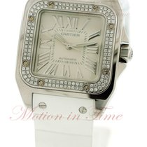 Cartier Santos 100 Medium Automatic, Silver Dial, Diamond...