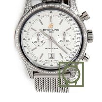 Breitling Transocean Chronograph 38mm Silver Dial Steel ...