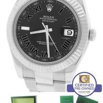 Rolex Datejust II 2 41MM Gray Black Roman 116334 Stainless 18K