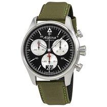 Alpina Startimer Pilot Military Green Big Date Black Dial...