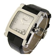 Chopard 28/8447 Happy Sport Square Ladies in Steel - on Black...