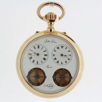 LATTES FRERES solid 18K Tow-Train Two-Time Zone Pocket Watch...