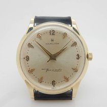 Hamilton Thinomatic 628 14K Yellow Gold 17j 34mm Swiss Wrist...
