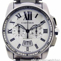 Cartier Calibre Chronograph W7100045 Stainless Steel Silver...
