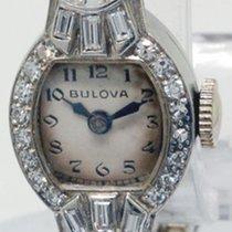 Bulova Ladies Vintage Platinum & Diamond Watch