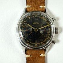 Angelus Chronograph vintage black gilt dial cal. 215 steel c....