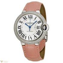 Cartier Ballon Bleu De 18K White Gold & Diamonds Ladies Watch