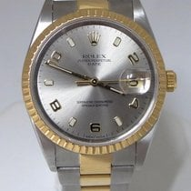 Rolex Oyster Perpetual Date 18k Steel Two Tone Watch 35mm...