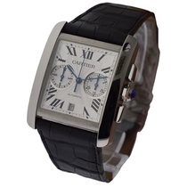 Cartier W5330007 Tank MC Chronograph in Steel - on Black...