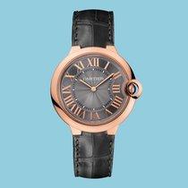 Cartier BALLON BLEU DE CARTIER 40 mm Rotgold Leder Schwarz -NEU-