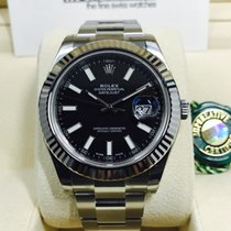 Rolex Datejust II Black Index Dial White Gold Bezel 41mm [NEW]