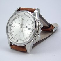 Hamilton JAZZMASTER TRAVELER GMT AUTO White-Brown Strap...
