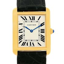 Cartier Tank Solo Yellow Gold Steel Black Strap Large Watch...