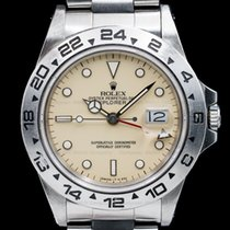 Rolex 16550 Explorer II with RARE Transitional Cream Rail Dial...