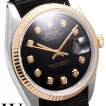 Rolex 36mm 18K/SS DATEJUST Custom Black Diamond Dial NATO Strap