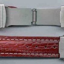 Leder-Armband 22mm rot, Edelstahl Sicherheitsfaltschließe