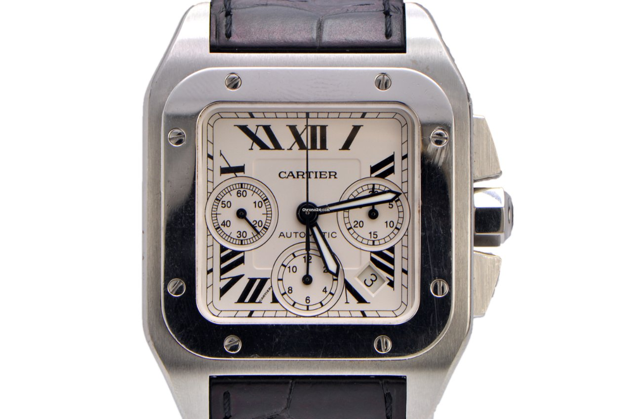 galbee owned watches en silver vintage lxrandco tone cartier us santos large pre steel luxury stainless