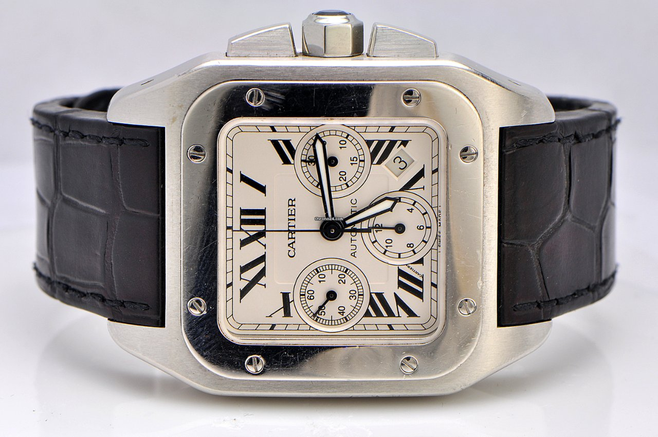 cartier santos 100 xl chronograph stainless steel for. Black Bedroom Furniture Sets. Home Design Ideas