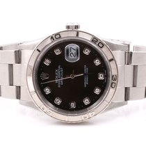 Rolex Mens Thunderbird Datejust - Factory Black Diamond Dial -...