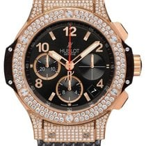 Hublot Big Bang 41mm Diamonds 18K Rose Gold Black Rubber...