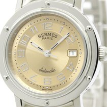 Hermès Polished Hermes Clipper Stainless Steel Automatic...