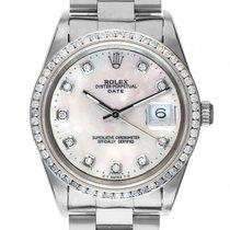 Rolex Oyster Perpetual Date Custom Stahl Weißgold Diamond...
