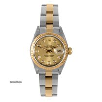 Rolex Ladies 18K/SS Datejust - Factory Champagne Diamond Dial
