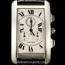 Cartier 18k W/G Tank Americaine Chronoflex B&P W2603356