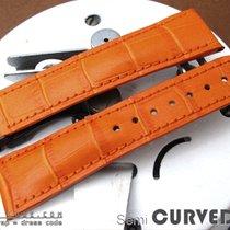 Strapcode Orange CrocoCalf Semi-Curved Lug Watch Band, PVD...