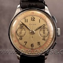 Cyma Vintage 38mm Coin-edge Case Steel Chronograph Cal....