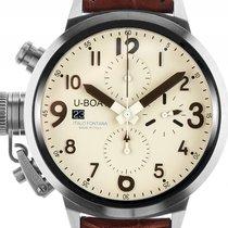 U-Boat Flightdeck 45 Stahl Automatik Chronograph Armband Leder...