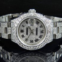 Rolex Ladies Rolex Datejust 27 MM Oyster Full Iced Out Dial...