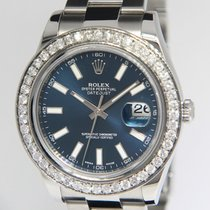 Rolex Datejust II Steel Diamond Bezel Blue Dial Mens Watch NEW...
