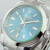 Rolex 116400gv Milgauss Green Crystal Blue Dial Steel 116400gv