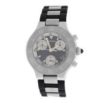 Cartier Mint Authentic Mens 2424 Chronoscaph 38MM Steel Date