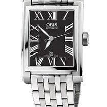 Oris Rectangular 30x44 Date, Roman, Black Dial, Steel