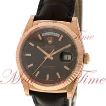 Rolex Date-Date 36mm President, Chocolate Dial, Fluted Bezel -...