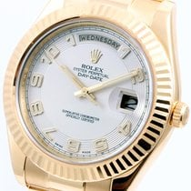 Rolex 41mm Day-Date ll 18K Yellow Gold White Arabic Dial 218238