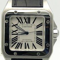 Cartier Santos 100 Xl Stainless Steel On Black Alligator Strap...