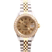Rolex Ladies 18K/SS Datejust Champagne Stick Dial &...