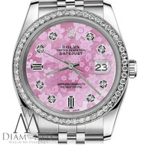 Rolex Womens Rolex 36mm Datejust Pink Flower Mop Mother Of...