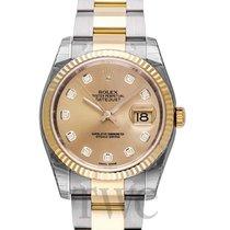 Rolex Datejust Champagne Steel/18k gold Dia Oyster Ø36mm - 116233