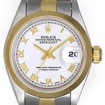 Rolex Ladies Rolex Datejust Watch 69163 White With Gold Roman...