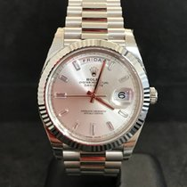 Rolex Day-Date 40 - White Gold - Silver Baguette Dial - NEW
