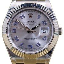 Rolex Datejust II 116334 Men's 41mm Silver Blue Arabic 18k...