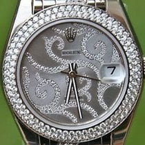 Rolex 18k 81339 White Gold Pearlmaster Arabesque Spectacular...